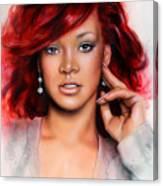 beautiful airbrush portrait of RihanA beautiful airbrush portrait of Rihanna with red hair and a fac Canvas Print