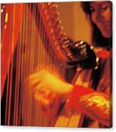 Beautiful Harp Player Canvas Print