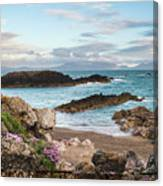 Beautiful Landscape Image Of Rocky Beach With Snowdonia Mountain Canvas Print
