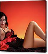 Beautiful Woman With A Glass Of Wine Canvas Print