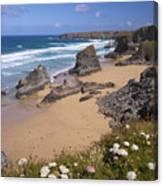 Bedruthan Steps Beach And Atlantic Surf In Summer Sun Cornwall  Canvas Print