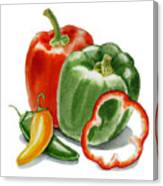 Bell Peppers Jalapeno Canvas Print