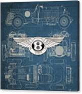 Bentley - 3 D Badge Over 1930 Bentley 4.5 Liter Blower Vintage Blueprint Canvas Print