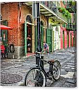 Bike And Lamppost In Pirate's Alley Canvas Print