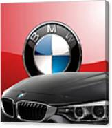 Black B M W - Front Grill Ornament And 3 D Badge On Red Canvas Print