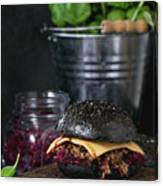 Black Burger With Stews Canvas Print