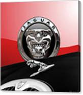 Black Jaguar - Hood Ornaments And 3 D Badge On Red Canvas Print