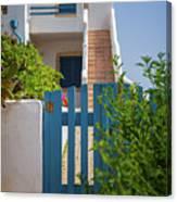Blue Gate In Greece Canvas Print