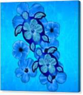 Blue Hibiscus And Honu Turtles Canvas Print