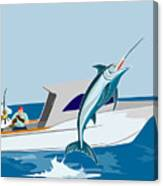 Blue Marlin Jumping Canvas Print
