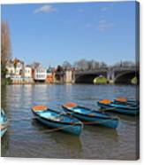 Blue Rowing Boats On The Thames At Hampton Court London Canvas Print