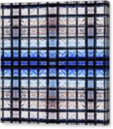 Blue Toned Glass Brick Window Abstract  Canvas Print