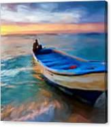 Boat On Beach Canvas Print