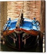 Boat On Canal In Venice Canvas Print