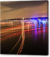 Boats Light Trails On Lake Wylie After 4th Of July Fireworks Canvas Print