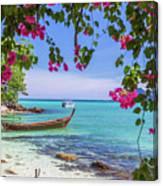 Boats, The Andaman Sea And Hills In Ko Phi Phi Don, Thailand Canvas Print