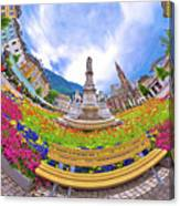 Bolzano Main Square Planet Perspective Panorama Canvas Print