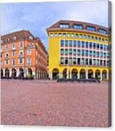 Bolzano Main Square Waltherplatz Panoramic View Canvas Print
