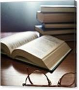 Books And Glasses Canvas Print