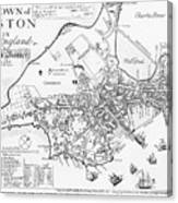 Boston Map, 1722 Canvas Print