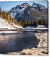 Bow River With Mountain View Banf National Park Canvas Print