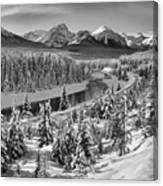 Bow Valley River View Black And White Canvas Print