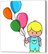 Boy With Balloons Canvas Print
