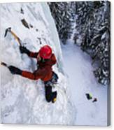 Brandon Prince Climbing Genesis I Area In Hyalite Canyon  Canvas Print