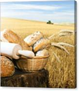 Bread And Wheat Cereal Crops Canvas Print