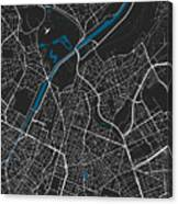 Brussels City Map Black Colour Canvas Print