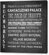 Bucharest Famous Landmarks Canvas Print