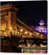 Budapest City By Night Canvas Print