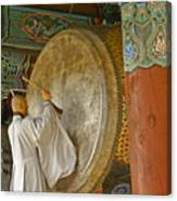 Buddhist Monk Drumming Canvas Print