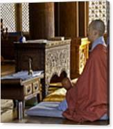 Buddhist Monk In Prayer Canvas Print