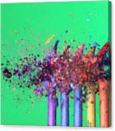 Bullet Hitting Crayons Canvas Print