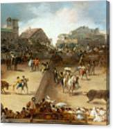Bullfight In A Divided Ring Canvas Print