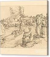 Burial In The Vendeen Marsh (un Enterrement Dans Le Marais Vendeen) Canvas Print