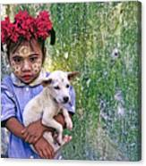 Burmese Girl With Puppy Canvas Print