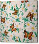 Butterflies And Daisies - 1 Canvas Print