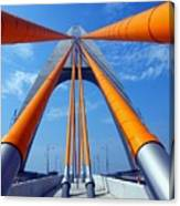Cable Stayed Bridge With Orange Clad Cables Canvas Print