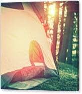 Camping In The Forest Canvas Print