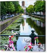 Canal And Decorated Bike In The Hague Canvas Print