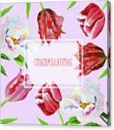 Card With Tulips And Peonies Canvas Print