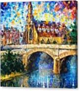 Castle By The River - Palette Knife Oil Painting On Canvas By Leonid Afremov Canvas Print