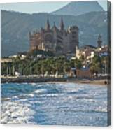 Cathedral And City Beach With People  Canvas Print