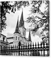 Cathedral Basilica - Square Bw Canvas Print