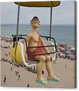 Caveman Above Beach Santa Cruz Boardwalk Canvas Print
