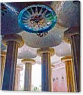 Ceiling Boss And Columns, Park Guell, Barcelona Canvas Print