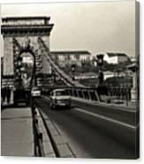 Chain Bridge Of Budapest In 1990 Canvas Print