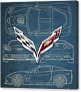 Chevrolet Corvette 3 D Badge Over Corvette C 6 Z R 1 Blueprint Canvas Print